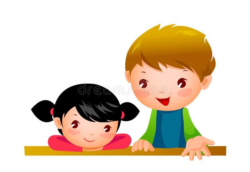 Verticale de garçon et de fille illustration stock
