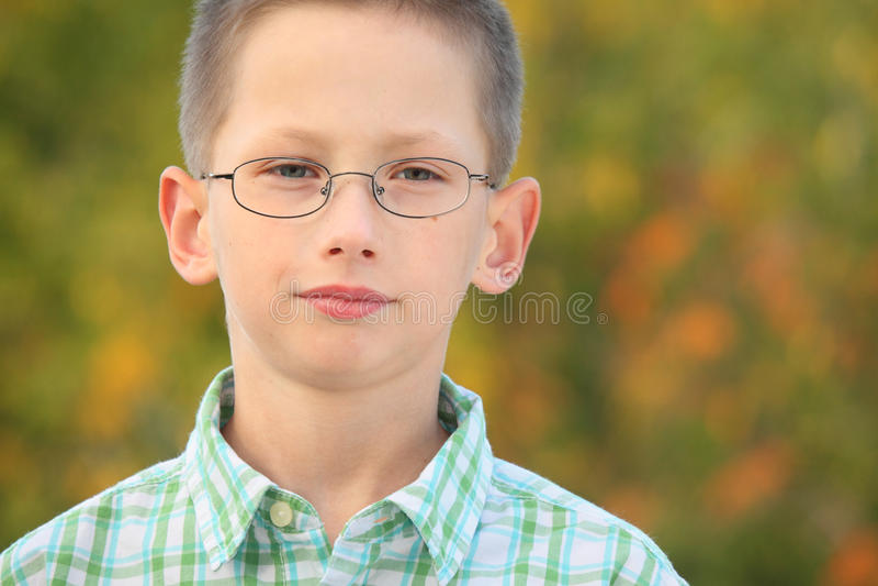 Verticale de garçon sérieux avec des glaces en stationnement image stock