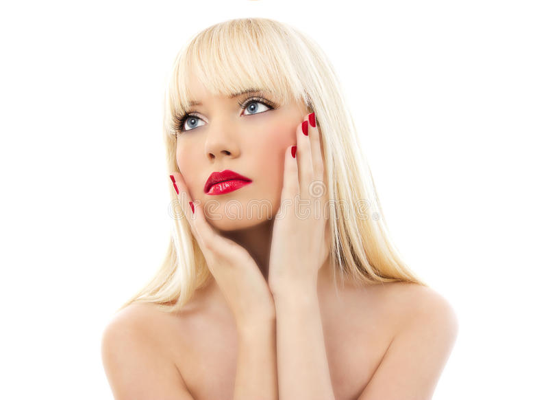 Verticale de jeune belle femme avec les languettes rouges photo libre de droits