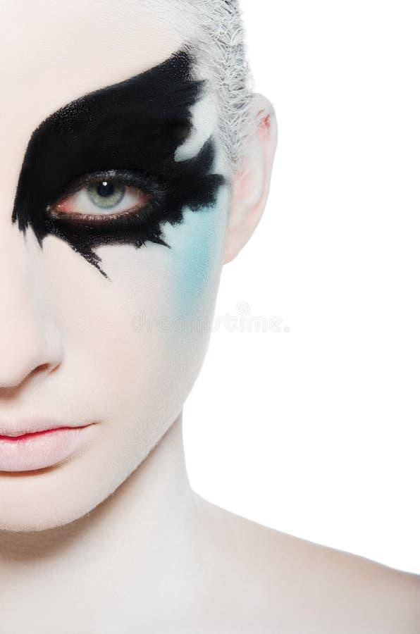 Verticale de jeune femme avec l'art de visage images libres de droits