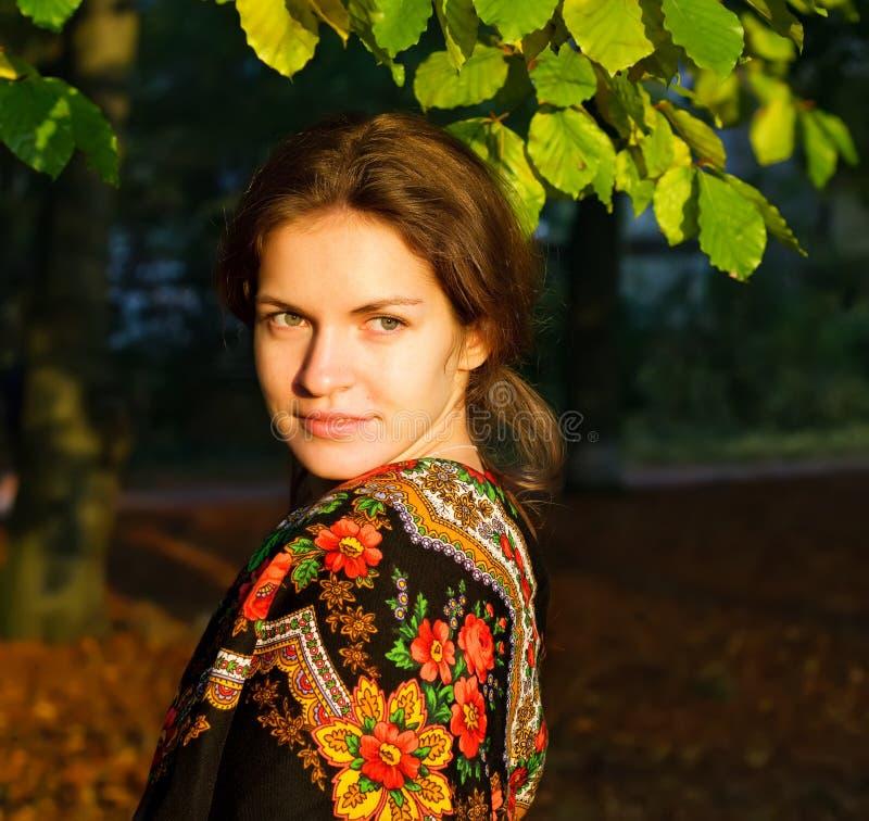 Verticale de jeune femme dans le châle russe image libre de droits