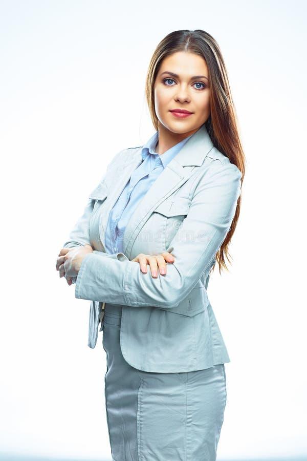 Verticale de jeune femme réussie d'affaires Fond blanc photos stock