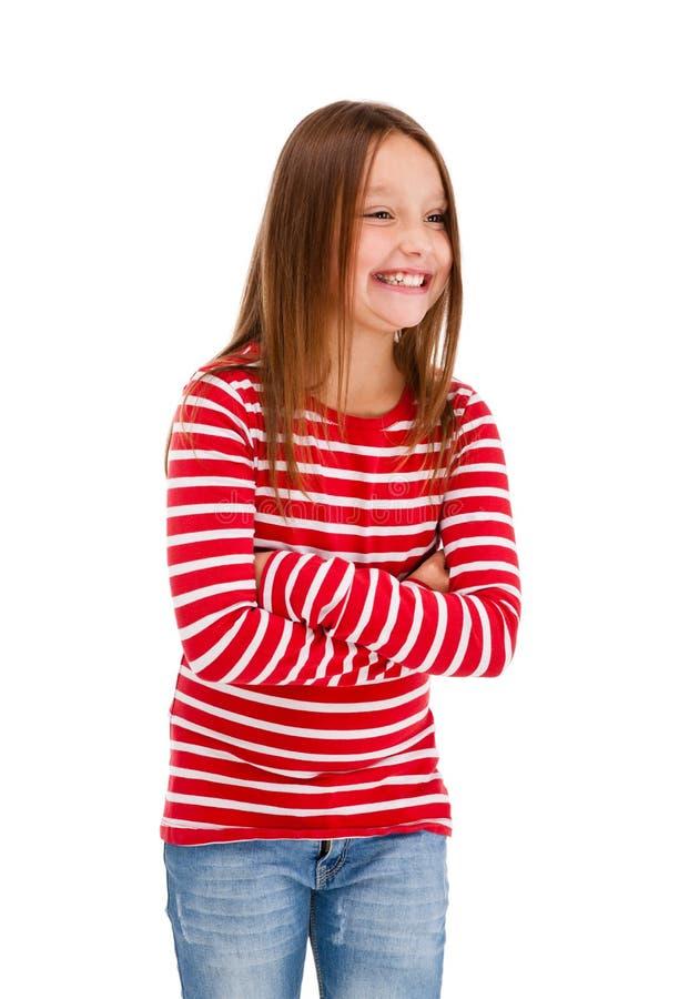 Verticale de jeune fille d'isolement sur le backgroun blanc photo libre de droits
