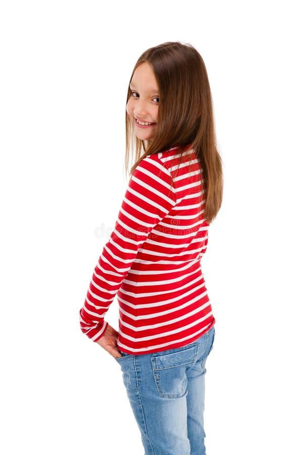 Verticale de jeune fille d'isolement sur le backgroun blanc photos stock