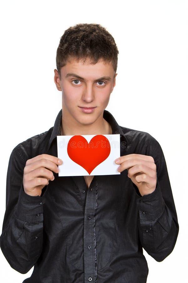Verticale de jeune homme avec le valentine photographie stock libre de droits