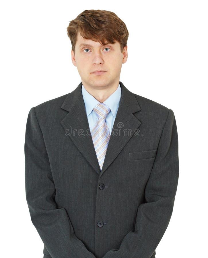 Verticale de jeune homme normal sur le fond blanc photographie stock