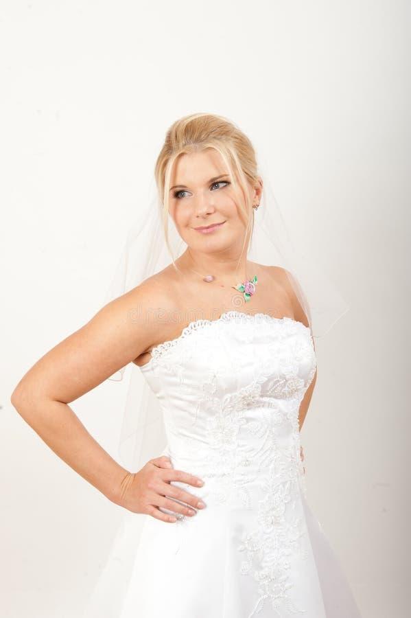 Verticale de jeune jolie mariée avec le voile photo stock
