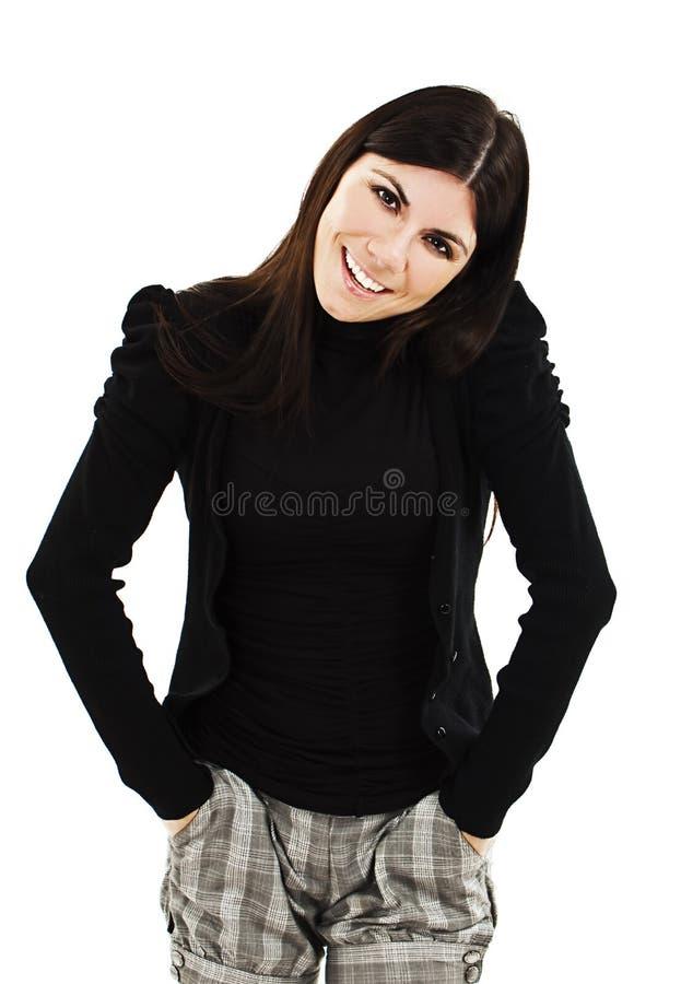 Verticale de joli rire de jeune fille photographie stock