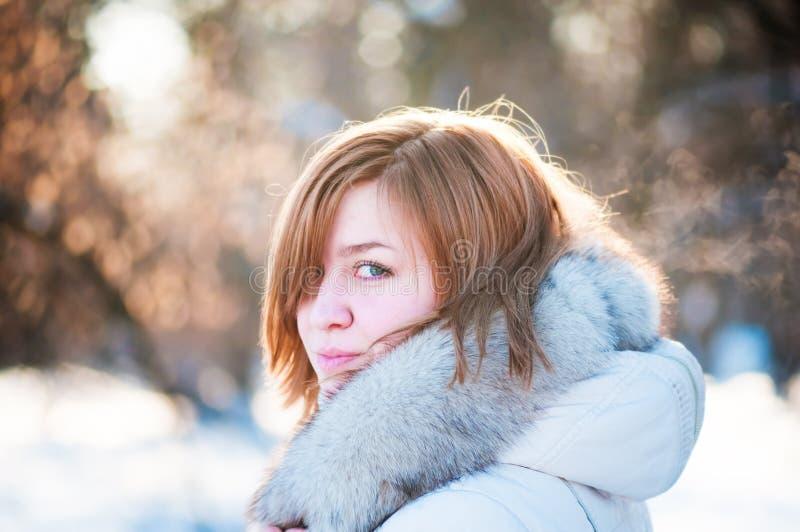 Verticale de l'hiver de jeune femme. image libre de droits