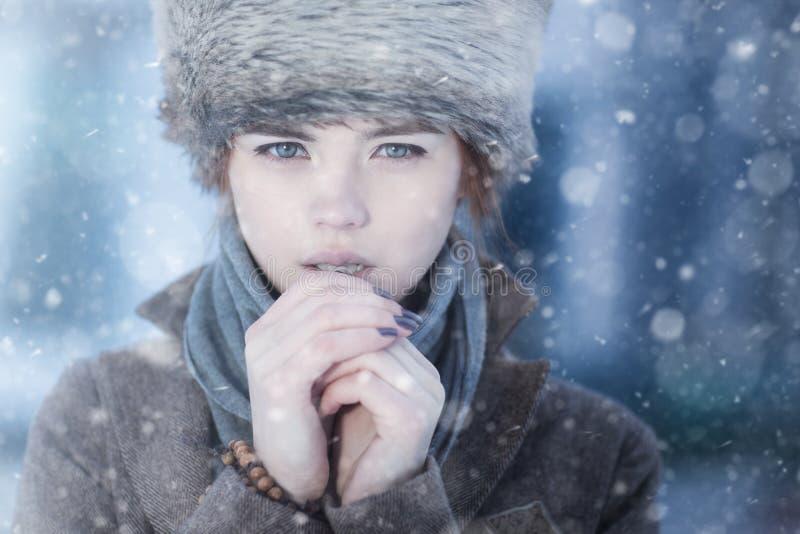 Verticale de l'hiver de jeune femme image libre de droits