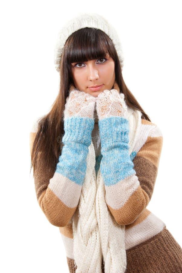 Verticale de l'hiver de jeune femme de beautifyl image libre de droits