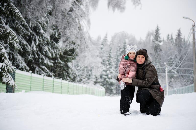 Verticale de l'hiver de jeune mère photo stock