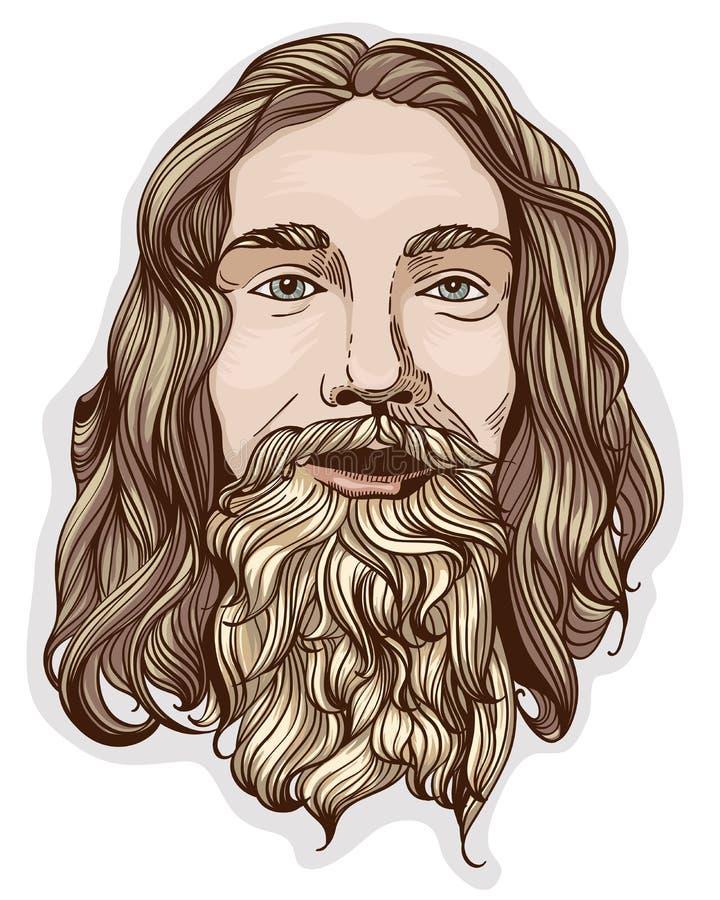 Verticale de l'homme avec la barbe illustration libre de droits
