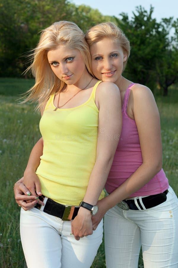 Verticale de la blonde deux attirante de sourire image libre de droits