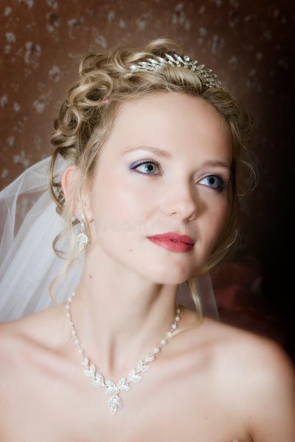 Verticale de la mariée sur un bacground foncé photo stock