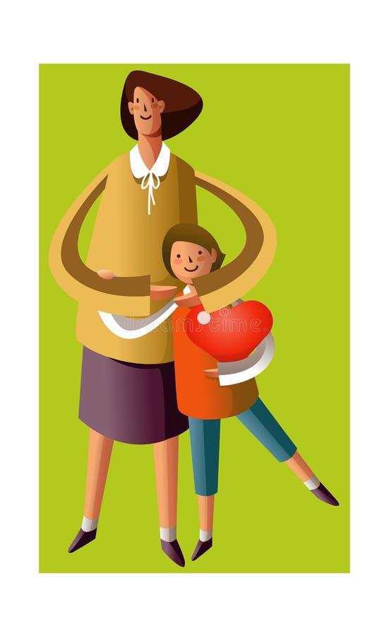 Verticale de mère et de fils illustration de vecteur