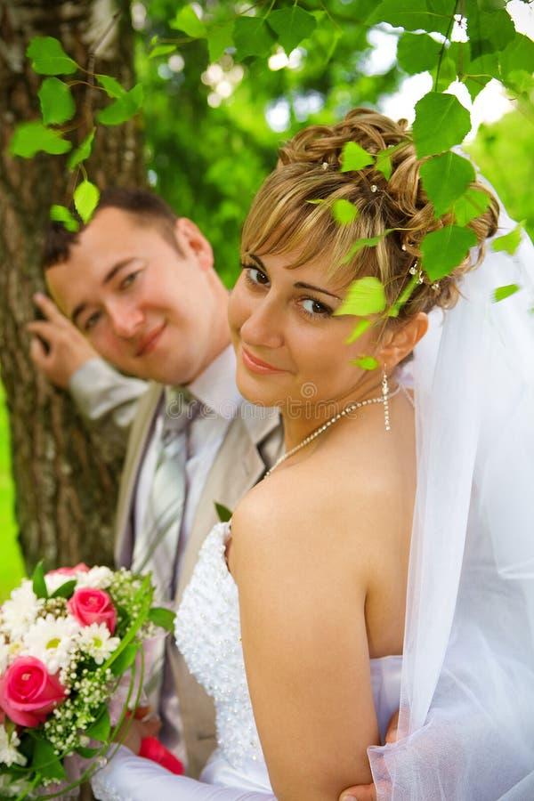 Verticale de mariée avec le marié photos stock