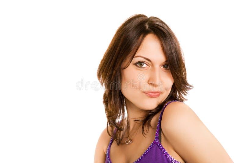 Verticale de mode de belle fille de brunette photographie stock libre de droits