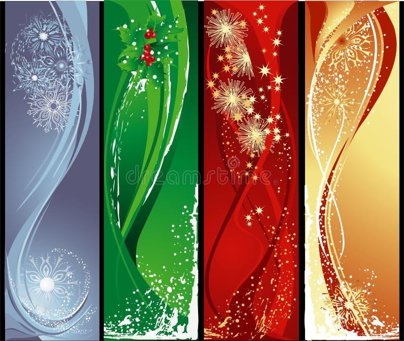 verticale de Noël de drapeaux illustration libre de droits