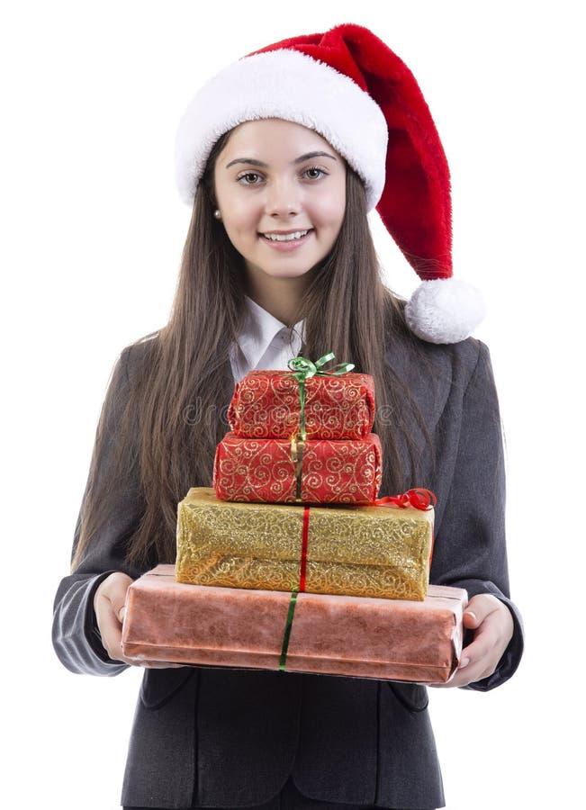 Verticale de Noël de femme d'affaires photographie stock libre de droits