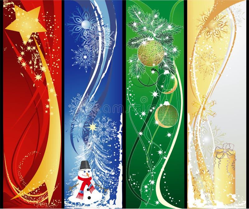 verticale de Noël quatre de drapeaux illustration libre de droits