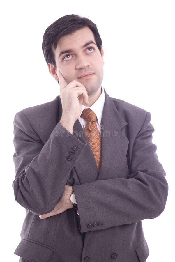 Verticale de penser d'homme d'affaires image stock
