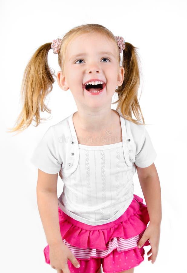 Verticale de petite fille riante mignonne images libres de droits