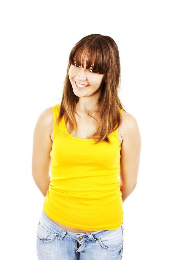 Verticale de rire attrayant d'adolescente de sourire image libre de droits