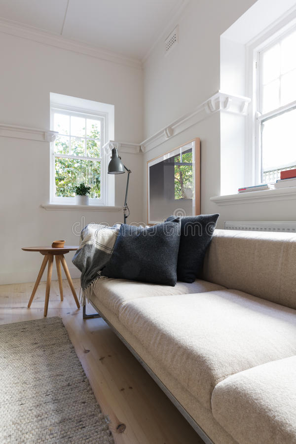 Verticale de salon intérieur neutre de luxe photos stock