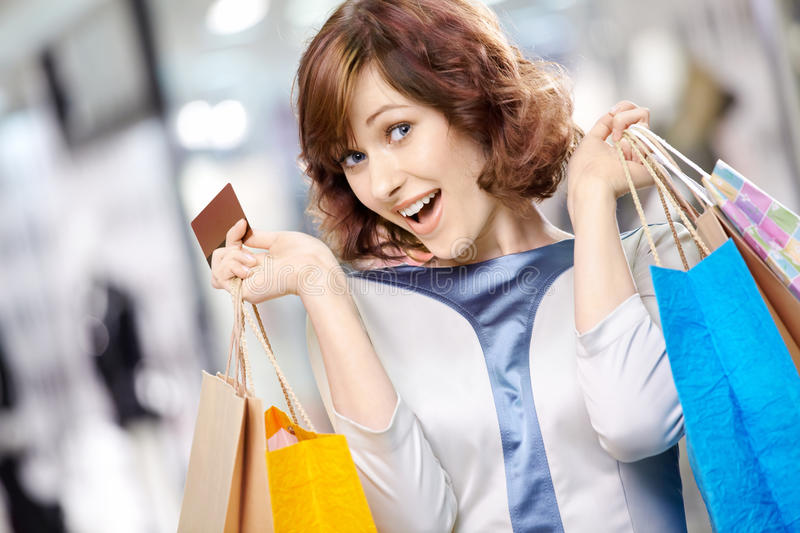 Verticale de shopaholic photo stock