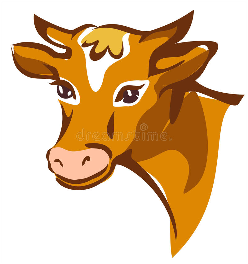 Verticale de sourire brune lumineuse de vache illustration stock