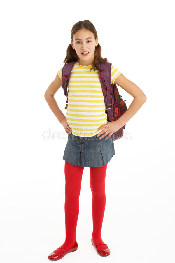 Verticale de studio de jeune fille avec le sac à dos images stock