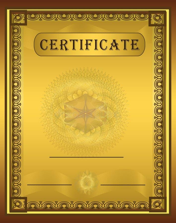Verticale de trame d'or de certificat illustration stock
