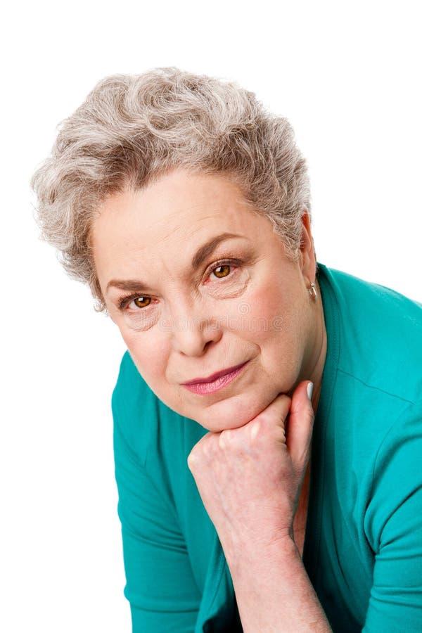 Verticale de visage aîné de femme images stock