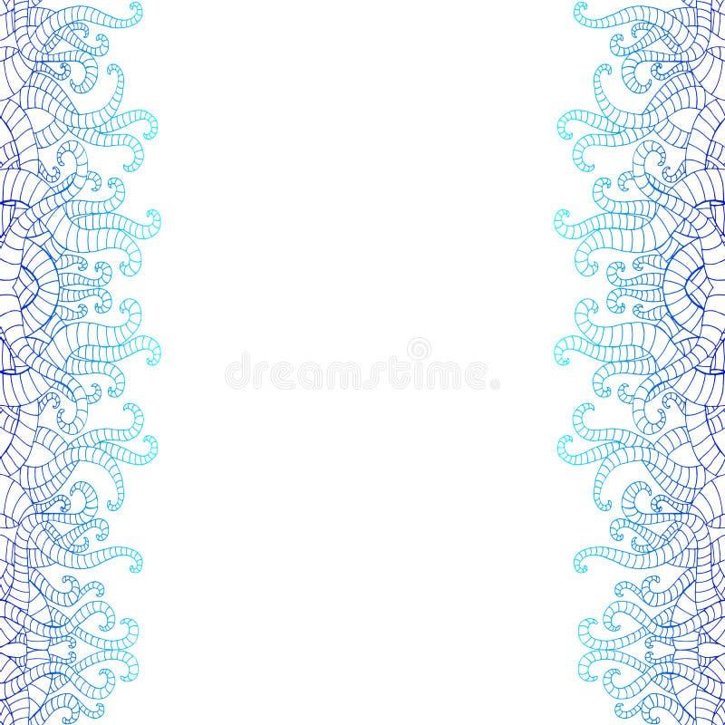 Verticale decoratieve krabbel seamlesspattern, op witte achtergrond Blauwe en donkerblauwe gradiëntkleuren uitstekende samenvatti royalty-vrije illustratie
