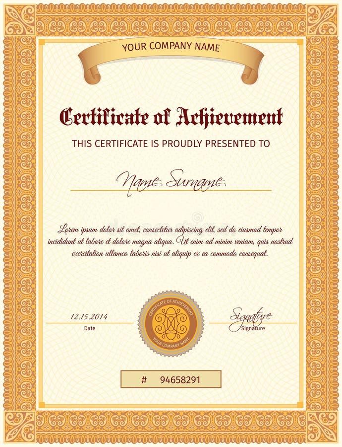 Verticale del modello del certificato illustrazione di stock