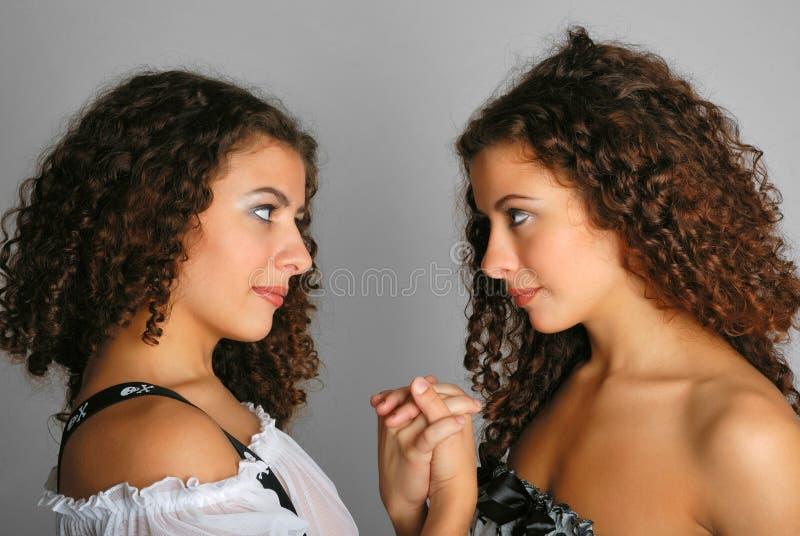 Verticale des jumeaux tête à tête image libre de droits