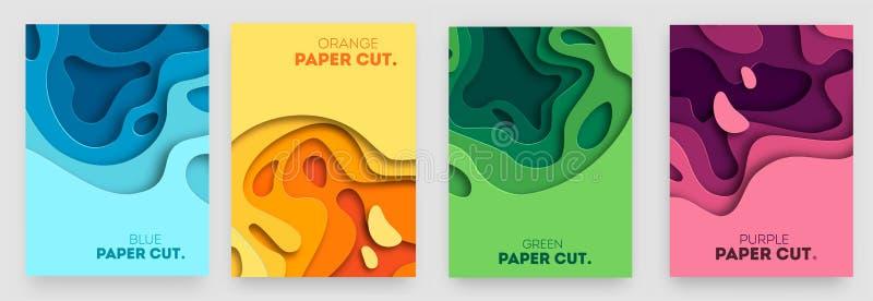 Verticale die banners met 3D abstracte achtergrond en document besnoeiingsvormen worden geplaatst Vectorontwerplay-out voor bedri vector illustratie
