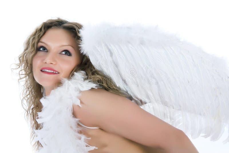 Verticale du blond-ange nu avec des œil bleu image libre de droits