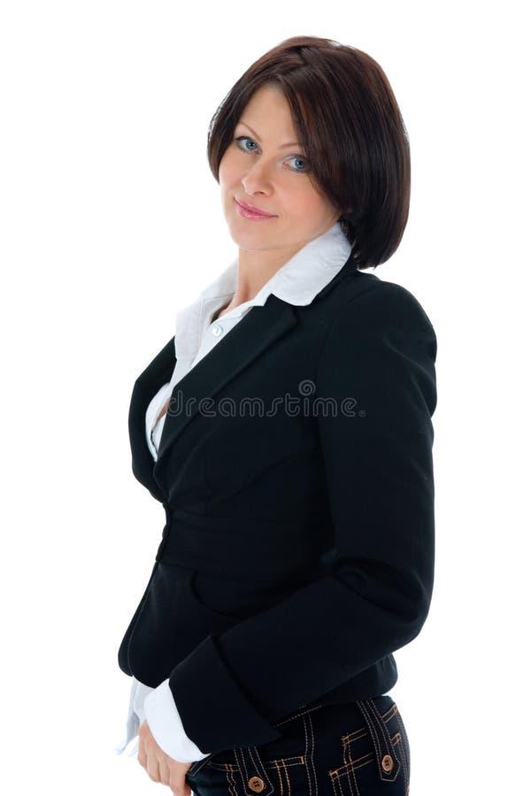 Verticale du brunette avec le œil bleu photographie stock