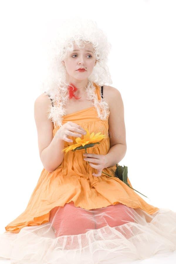 Verticale du clown avec le tournesol II photos libres de droits