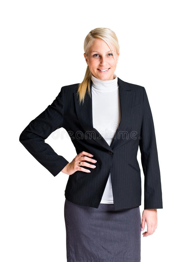 Verticale en buste de jeune femme d'affaires. image libre de droits