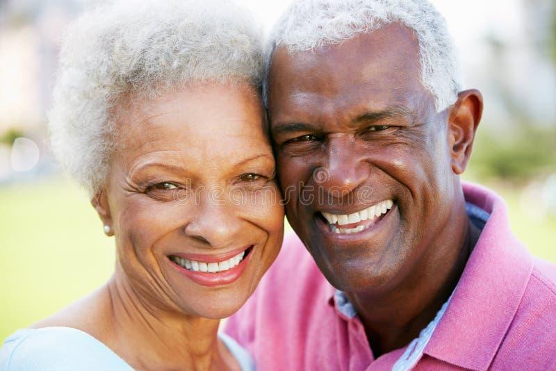 Verticale extérieure des couples aînés heureux photos stock