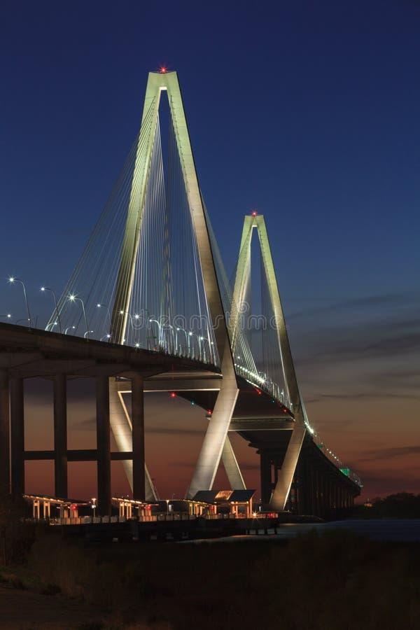 De Verticaal van Sc van Arthur Ravenel Jr Bridge Charleston stock foto's