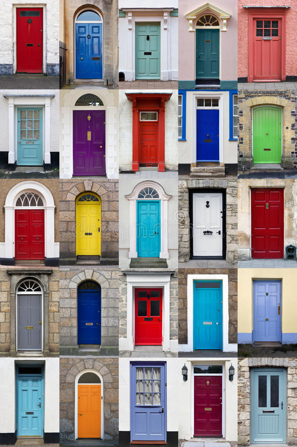 Verticale fotocollage van 25 voordeuren royalty-vrije stock afbeeldingen