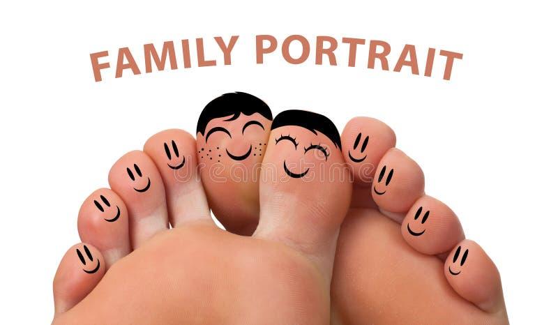 Verticale heureuse de famille des smiley de doigt photographie stock libre de droits