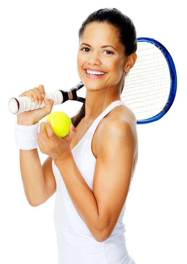 Verticale heureuse de tennis photographie stock