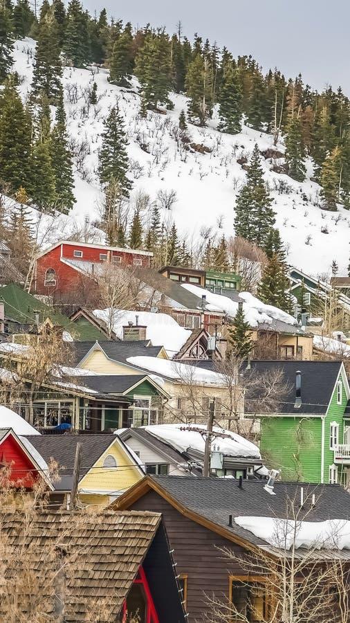 Verticale Huizen met kleurrijke die muren op een berg worden voortgebouwd met sneeuw in de winter wordt behandeld royalty-vrije stock foto