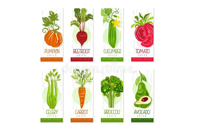 Verticale kaarten of bannersreeks van verse groentenpompoen, bieten, komkommer, selderie, wortel, broccoli, avocado royalty-vrije illustratie