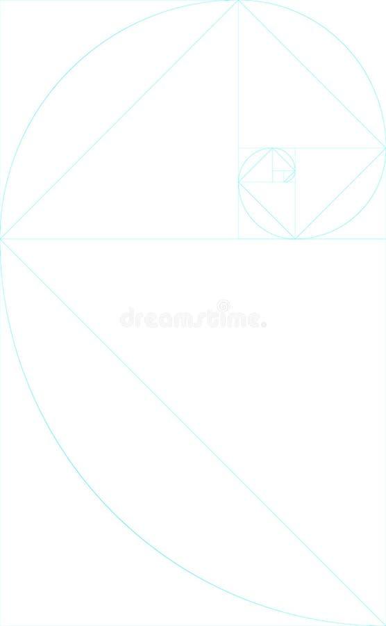 Verticale lege gouden verhouding malplaatje met gidsen vector illustratie